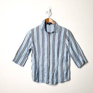 Burberry Button Up Blouse Striped Blue Nautical M